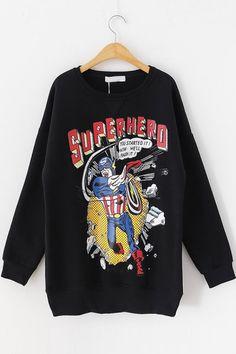 SUPERHERO Graphic Fleece Sweatshirt OASAP.com