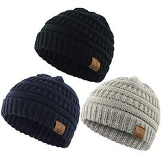 Durio Soft Warm Knitted Baby Hats Caps Cute Cozy Chunky Winter Infant  Toddler Baby Beanies for Boys Girls 3 Pack Black   Light Grey   Navy Worry  Free Baby d0cf1b4d95d7