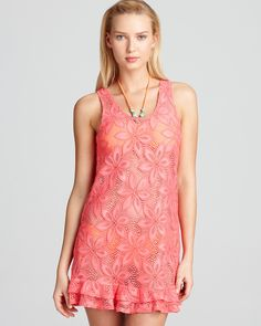 J. Valdi Daisy Ruffle Tank Swimsuit Cover Up | Bloomingdale's