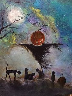 scarecrow and friends whimsical halloween illustrated painting Retro Halloween, Image Halloween, Fröhliches Halloween, Samhain Halloween, Halloween Painting, Halloween Prints, Halloween Pictures, Holidays Halloween, Halloween Decorations