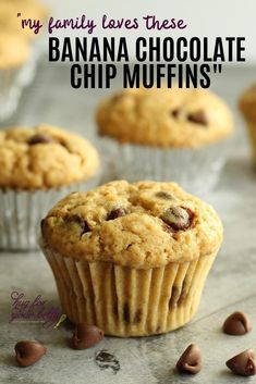 Blend the sweet, creaminess of bananas and chocolate chips together and you have an amazing muffin that is perfect for breakfast, snacks, or anytime! #bananamuffins #muffinrecipe #easybananachocolatechipmuffins Muffin Recipes, Baking Recipes, Real Food Recipes, Snack Recipes, Easy Recipes, Banana Chocolate Chip Muffins, Chocolate Chips, Banana Bread, Easy Snacks