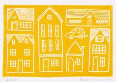 Lino print of houses using a linoleum block carved by the author. Printed with golden yellow water-based block ink on 210gsm acid free paper with a smooth texture | Amelia Herbertson