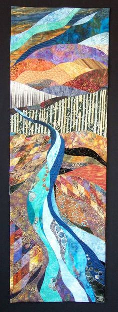 Fiber Art Quilts-Landscape Cry Me a River 53 inches x 17 inches 3d Place Winner, Art Naturescapes 2012 International Quilt Festival Houston, Tx