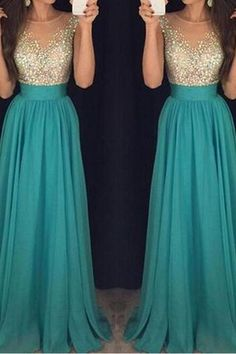 Round Neck Chiffon Prom Dress With Open Back A line Beading Party Dresses