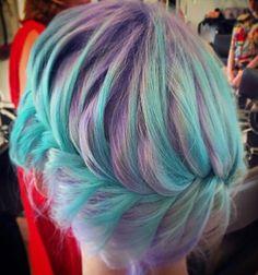 Lavender purple turquoise blue pastel hair