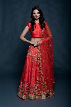 Red bridal lehenga with scallop cutwork dupatta