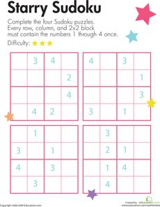 Here's a page with a set of sudoku puzzles for challenging kids to use their logical reasoning and problem solving skills. Sudoku Puzzles, Logic Puzzles, Puzzles For Kids, Middle School Activities, Toddler Learning Activities, Math Activities, Logic Problems, Math Enrichment, Math Sheets