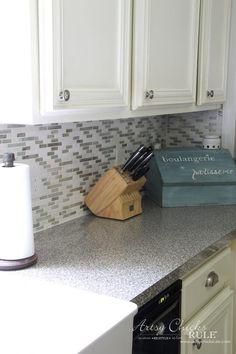 Coastal Inspired DIY Tile Backsplash Tutorial (anyone can do! Diy Tile Backsplash, Vinyl Wood Planks, It's Easy, Coastal, Artsy, Canning, Inspired, Kitchen, Cooking