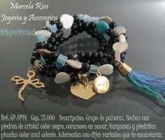 ¡Creamos productos que te encantarán! ¡Agregamos toques tiernos que te harán lucir muy bella! Twitter, Bracelets, Jewelry, Blue Nails, Stones And Crystals, Hardware Pulls, Turquoise, Hair Bows, Pearls