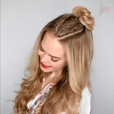 Cute braided bun hair tutorial video - Easy hairstyles for long hair - 4 Braids Hairstyle, Cute Bun Hairstyles, Easy Hairstyles For Long Hair, Braided Hairstyles, Hairstyles Videos, Easy Hair Braids, Hairstyles For Medium Length Hair Easy, School Hairstyles For Teens, Hair Tutorials For Medium Hair