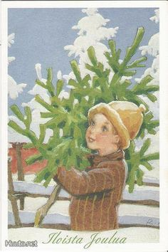 Rudolf Koivu Vintage Christmas Cards, Vintage Cards, Country Christmas, Christmas Tree, Scandinavian Christmas, Christen, Dear Santa, Illustrators, Eye Candy