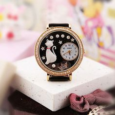How nice Lovely Cat Crown Pearl Rhinestone Trim Watch ! I like it ! I want to get it ASAP!