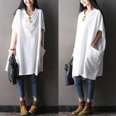 Women plus size cotton linen top - Tkdress  - 1: