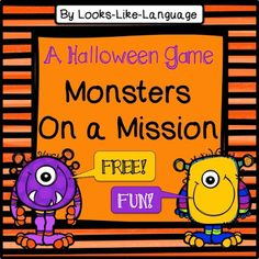 More Halloween Fun from Looks Like Language! I hope you downloaded my cute Halloween open ended game last week and have some fun plans for it if you haven't already put it to use! This week I have some game cards for you so you can enjoy some Halloween candy instead of planning. Candy? Did anyone say candy? I'd just love to have a dark chocolate Reese's peanut butter cup right about now..... Yum! Back to the topic- the mission cards for the monsters are open ended in case you have particular…