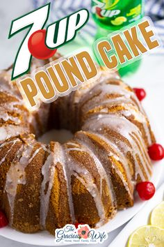 Old-fashioned 7Up Pound Cake made the Southern way for a zingy lemon, light, and fluffy cake topped with a sweet lemon glaze. The best pound cake you'll ever have! Traditional pound cakes, while delicious, are very heavy. 7Up Pound Cake is one-of-a-kind because, even though it doesn't have a leavening agent, it's still a much lighter fluffier pound cake than most! | The Gracious Wife @thegraciouswife #poundcakerecipes #poundcake #easyfalldessert #oldfashionedrecipes #holidaycake… 7up Pound Cake, Pound Cake Recipes, Pound Cakes, Strawberry Swirl Cheesecake, Strawberry Desserts, Cheesecake Strawberries, Easy Gluten Free Desserts, Easy Desserts, Pavlova