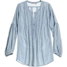 CALYPSO St. Barth Cotu Pleated Chambray Shirt ($159) ❤ liked on Polyvore featuring tops, dresses, tops/outerwear, pleated top, blue chambray shirt, bohemian shirts, oversized shirt and boho shirts