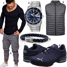 Blau-Grauer Herren-Style mit Longsleeve und Steppweste (m1059) #blau #grau #jogginghose #longsleeve #uhr #outfit #style #herrenmode #männermode #fashion #menswear #herren #männer #mode #menstyle #mensfashion #menswear #inspiration #cloth #ootd #herrenoutfit #männeroutfit