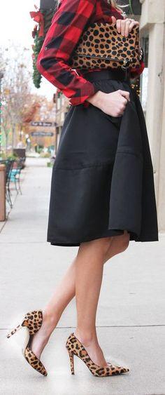 Red & black checkered button down shirt, midi skirt, leopard pumps