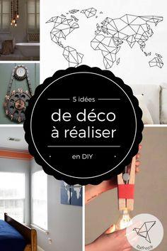 Voici 5 idées pour inspirer vos idées de décoration que vous pourrez réaliser vous-même.  J'adore cette idée d'habiller les fils électrique d'une suspension avec de grosses …