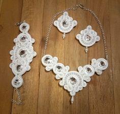 bridal soutache jewellery sets with swarowski by AlexandraKaczur on Etsy