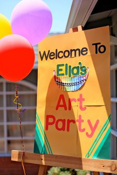 Kid's Birthday party with an art theme! The possibilities are endless Artist Birthday Party, 6th Birthday Parties, Birthday Ideas, Kid Parties, Birthday Door, Classroom Birthday, Rainbow Parties, Slumber Parties, Lila Party