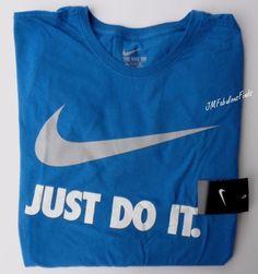 Nike Mens Athletic Cut JUST DO IT. Swoosh Blue Cotton TShirt XXL 909832-484 NWT #Nike #ShirtsTops