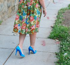 floral anthropologie skirt; blue j.crew pumps
