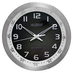 La Crosse Technology 10 Inch Atomic Wall Clock - Silver - 404-1210S