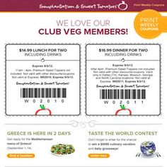 Weekly Sweet Tomatoes Coupons