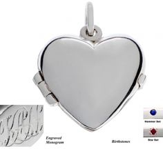 Locket - MY HEART - Monograms or Birthstones - Sterling Silver    A rounded heart - lovely to look at and wear, and because it is slightly puffed, you can use it for photos or keeping little mementos or keepsakes close to your heart.