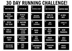 NEW 30DAY CHALLENGE - Take on my  30 day running challenge, just print this sheet and get ready!
