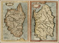 Corsica & Sardinia First Edition by Gerard Mercator - hand coloured 1595  Barry Lawrence Ruderman Antique Maps Inc.