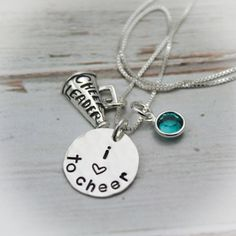 Cheerleader Personalized Necklace, Megaphone Necklace, Pepsquad Jewelry, Love to Cheer Necklace, Hand Stamped Necklace #MegaphoneJewlery #PersonalizedJewelry #HandStampedJewelry #PersonalizeNecklace #MegaphoneNecklace #CheerleaderJewelry #CheerleaderGift #HandstampedNecklace #CheerleaderNecklace #HandStampedCharm