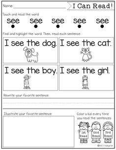 Sight Word Fluency and Reading Intervention - Miss Kindergarten Sight Word Sentences, Teaching Sight Words, Sight Word Worksheets, Sight Word Practice, Sight Word Activities, Simple Sentences, Work Activities, Fluency Practice, Reading Activities