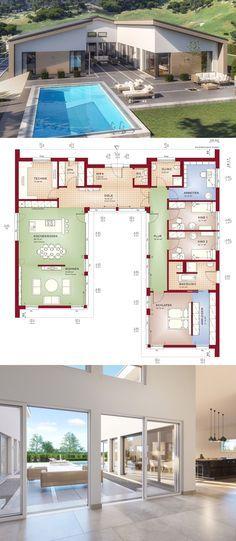 Bungalow Haus Mit Satteldach Architektur Innenhof 5 Zimmer