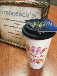 Francesca's Travel Coffee Mug and  Yellowhouse Coffee Passes for one free cup of coffee each--Valued at $30.00--Bidding starts at $5.00