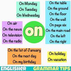 Grammar tips: Preposition ON