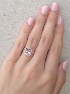 Rose Gold Morganite Oval Halo Ring, Rose Gold Ring, Oval Halo Ring, Alternative Engagement Ring