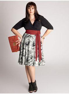 Plus size half pattern dress