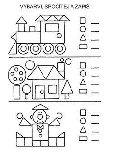 Shapes Worksheets, Kindergarten Math Worksheets, Math Activities, Preschool Activities, Kindergarten Learning, Teaching Kids, Visual Perception Activities, Math For Kids, Math Decorations