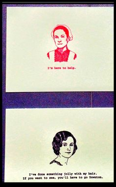 """Letterpress notecard featuring """"Downton Abbey"""" characters. By Smokey Road Press. Brilliant, my dear."""
