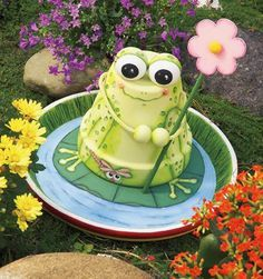 Clay pot frog for birdbath center
