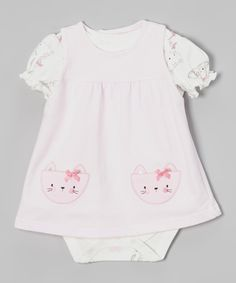 Look at this #zulilyfind! René Rofé Baby White & Pink Kitten Skirted Bodysuit - Infant by René Rofé Baby #zulilyfinds