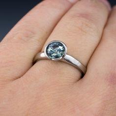 Blue/ Green Montana Sapphire Bezel Set Engagement Ring