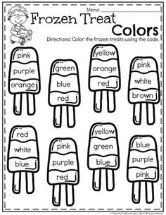 English Worksheets For Kids, English Lessons For Kids, English Activities, Preschool Learning Activities, Preschool Worksheets, Teaching Kids, Color Word Activities, Vocabulary Activities, Kindergarten Colors