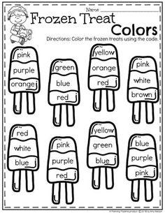 Color Words - Preschool Ice Cream Worksheets #colorsworksheets #preschoolworksheets #icecreamworksheets #summerworksheets #planningplaytime