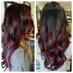 Gorgeous black to maroon ombré - - Hair Black Hair Burgundy Highlights, Black And Burgundy Hair, Hair Color Highlights, Burgundy Balayage, Maroon Hair, Plum Hair, Ombré Hair, Burgendy Ombre Hair, Black Hair Ombre