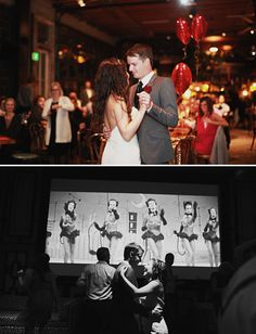 vintage b&w video montage playing on a screen during the reception!
