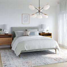 West Elm Bedroom, West Elm Bedding, Grey Bedding, Grey Upholstered Bed, Grey Bed Frame, Tall Bed Frame, Reclaimed Wood Beds, Mid Century Modern Bedroom, Modern Grey Bedroom
