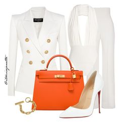 """Untitled #18"" by itsmissjanetta on Polyvore featuring Balmain, Yves Saint Laurent, Hermès, Christian Louboutin, women's clothing, women, female, woman, misses and juniors"